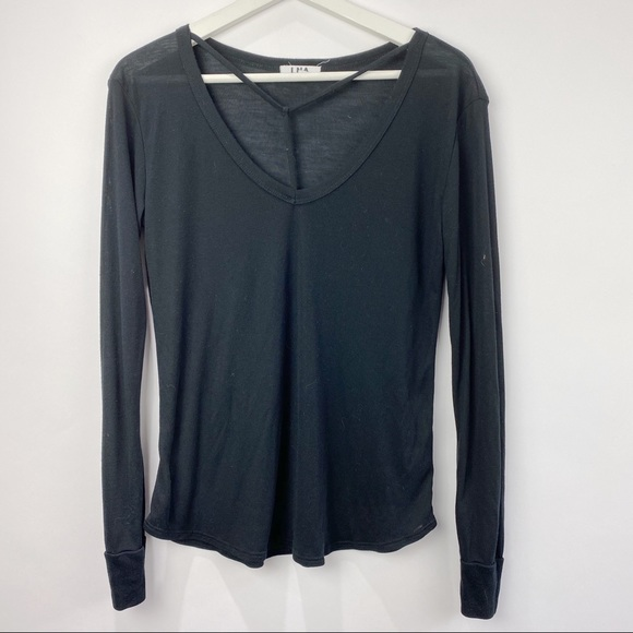 LNA long sleeve v neck tee with neck detail